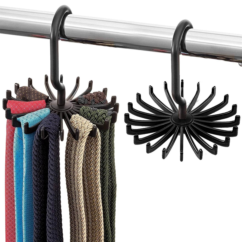 tie rack and belt hanger 2 pack hooks for ties belts and scarves walmart com