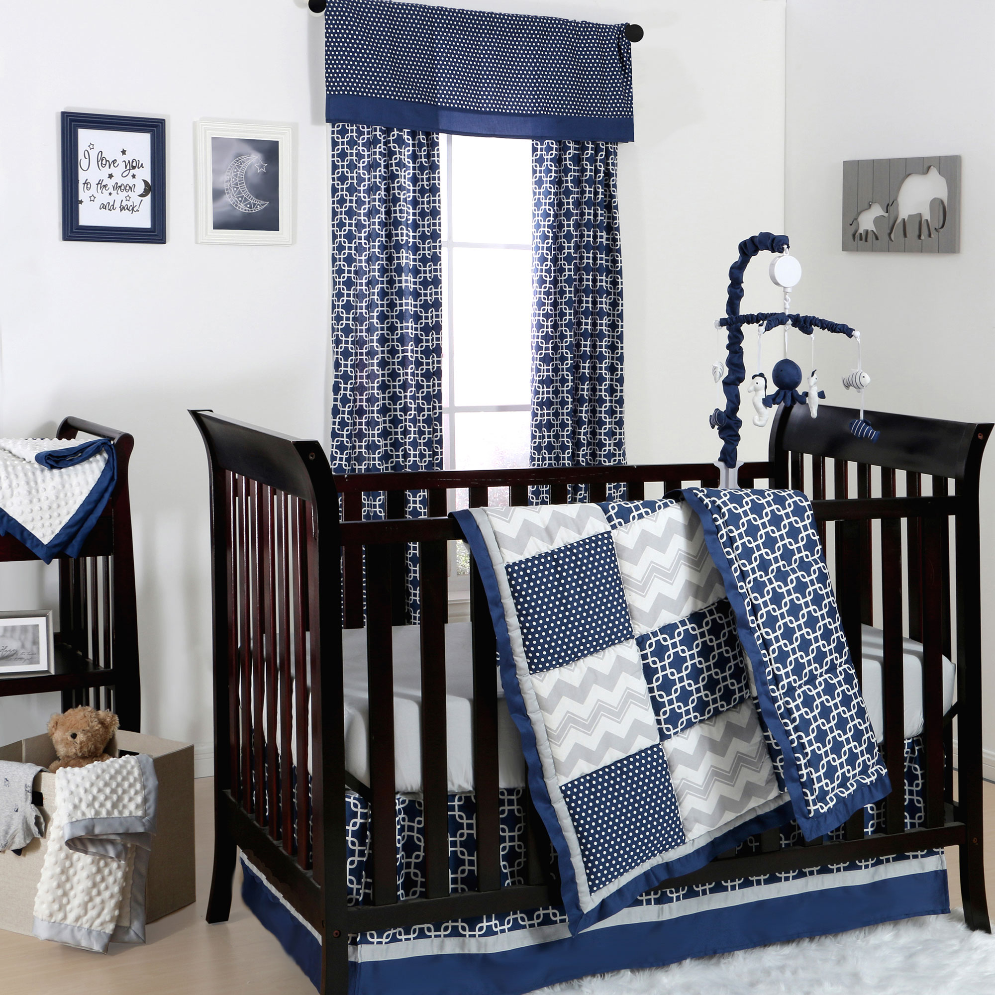 the peanut shell 3 piece baby crib bedding set navy blue and grey geometric patchwork 100 cotton quilt crib skirt and sheet