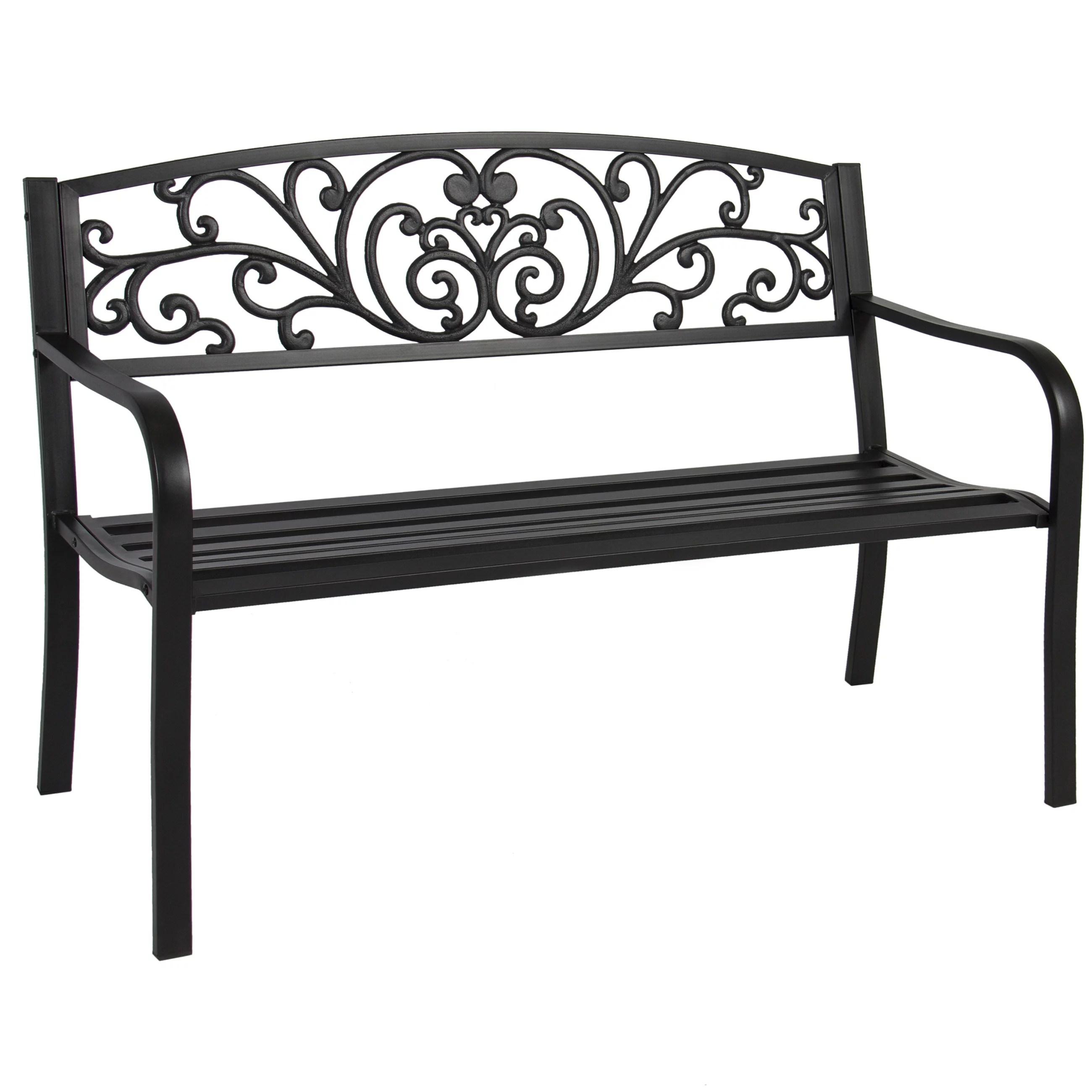 Best Choice Products 50in Outdoor Patio Garden Bench Park Yard Furniture Porch Chair W Steel Frame Black Walmart Com Walmart Com