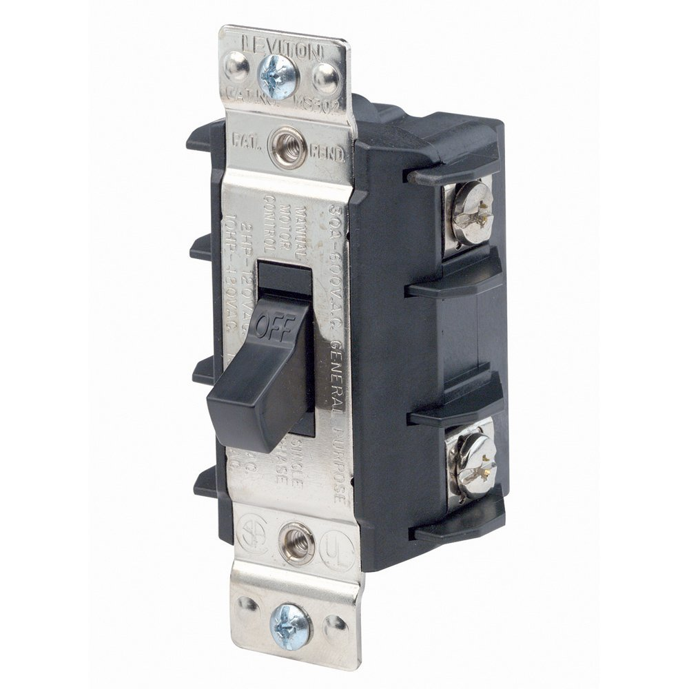 hight resolution of ms302 ds 30 amp 600 volt double pole single phase ac motor starter suitable as motor disconnect industrial grade non grounding black by leviton ship