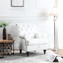 Leather Accent Chairs For Living Room Vastu Shastra Colors Tufted Scroll Arm Chesterfield Faux Chair Armchair With Nailheads White Walmart Com