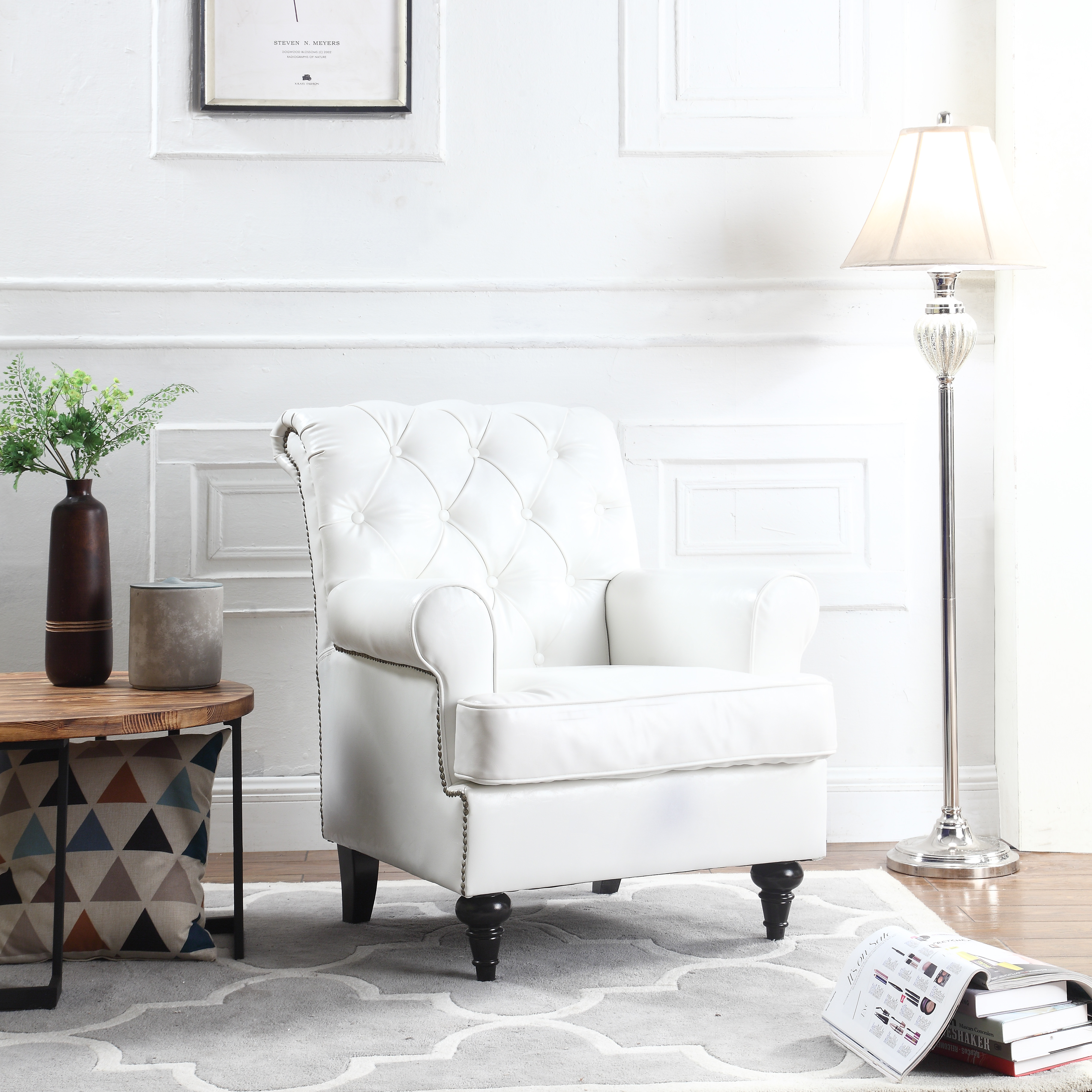 leather accent chairs for living room stylish tufted scroll arm chesterfield faux chair armchair with nailheads white walmart com