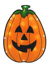 "12"" Lighted Holographic Pumpkin Halloween Window ..."