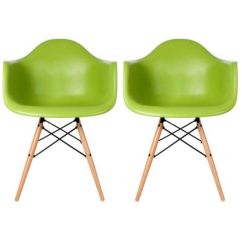 Mid Century Modern Plastic Chairs High End Living Room 2xhome Set Of 2 Green Dining Chair Molded Arms Armchairs Natural Wood Legs Desk No Wheels Accent Vintage Designer For Small
