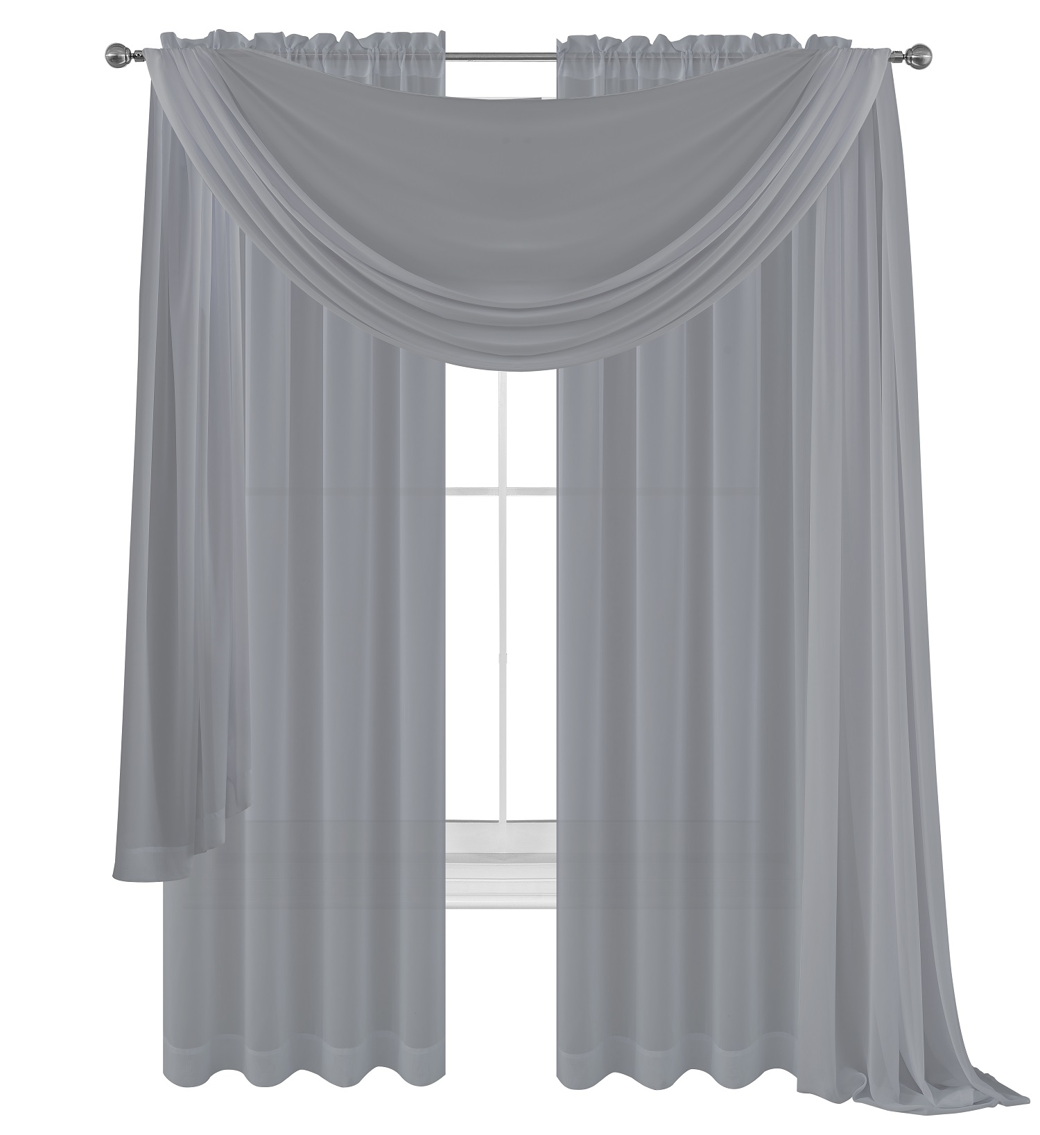 3 piece silver grey sheer voile curtain panel set 2 purple panels and 1 scarf