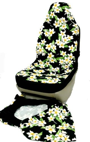 hawaiian chair covers irest massage car seat black plumeria flower set of 2 front bucket made in hawaii walmart com