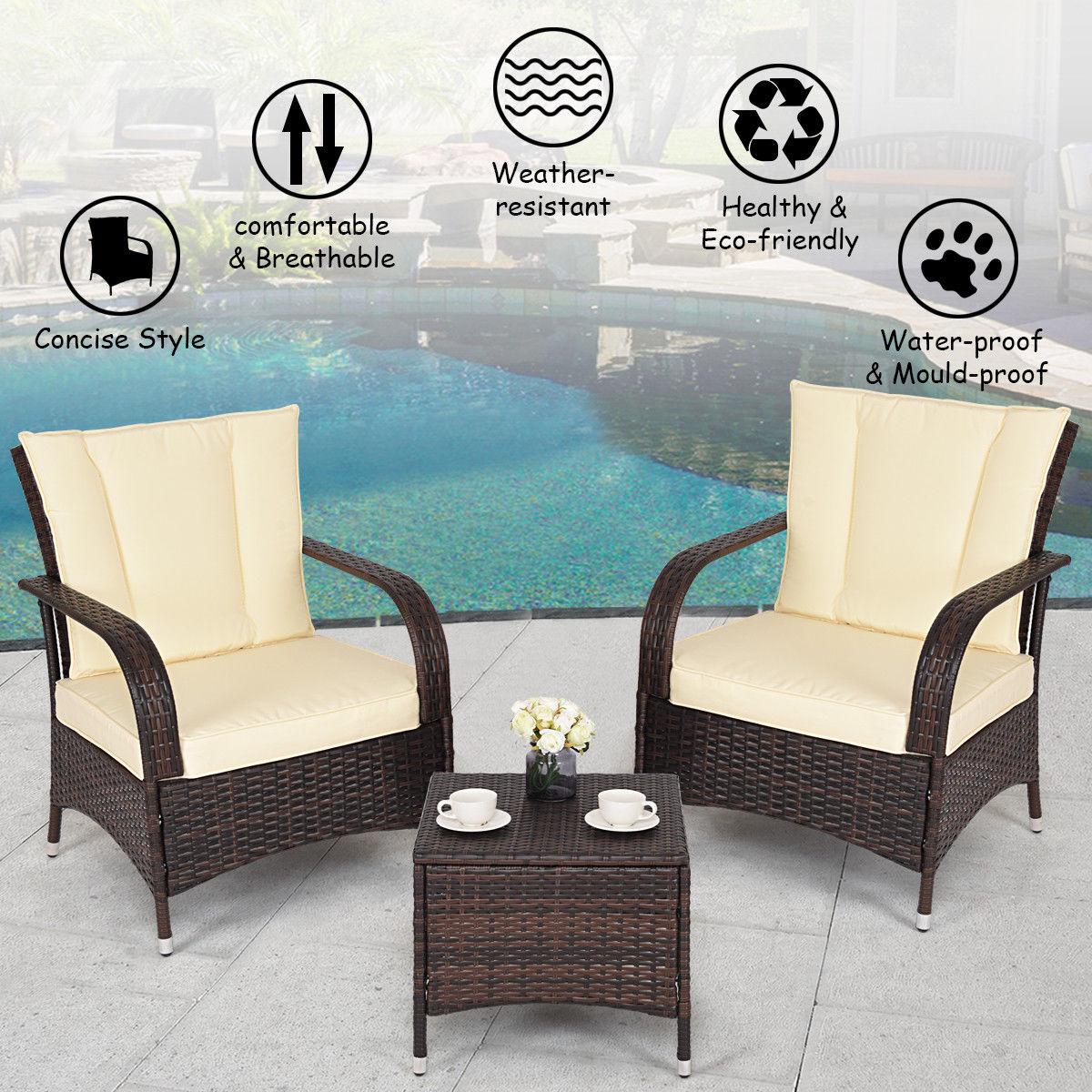 3pcs Outdoor Patio Mix Brown Rattan Wicker Furniture Set