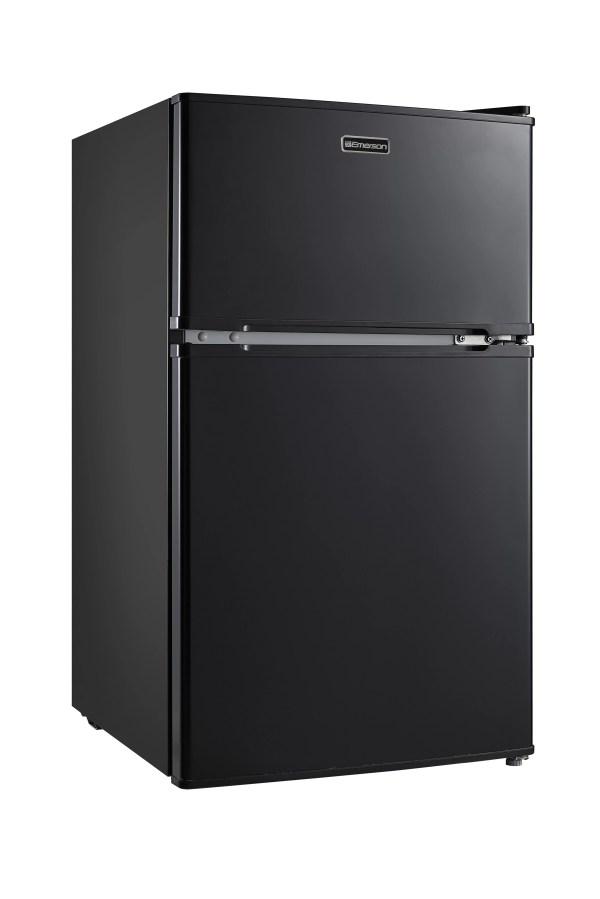 Emerson Compact Double Door Refrigerator Mini Fridge Black 3.1-cubic Foot