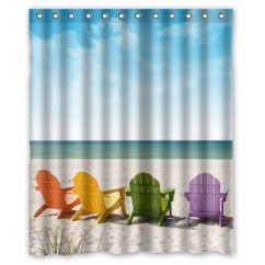 Beach Chair Bathroom Accessories Swivel Recliner Chairs Leather Greendecor Hawaii Summer Scenery With Waterproof Shower Curtain Set Hooks Size 60x72 Inches Walmart Com