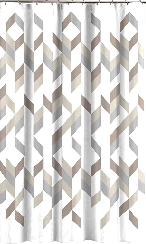 modern gray taupe beige shower curtain for bathroom geometric pattern walmart com