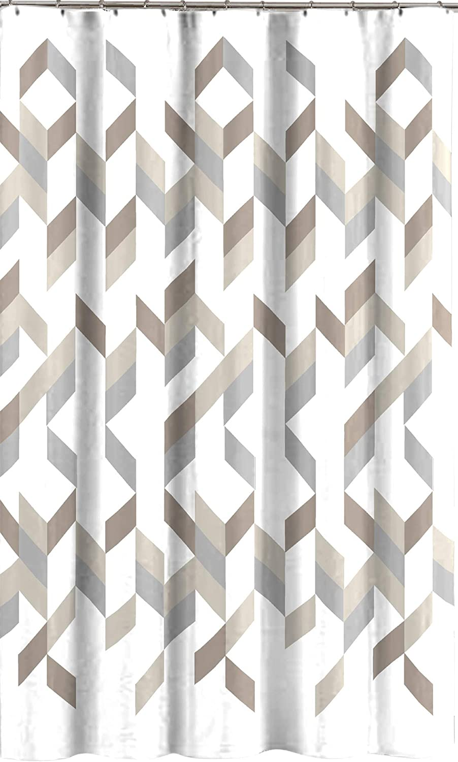 modern gray taupe beige shower curtain for bathroom geometric pattern