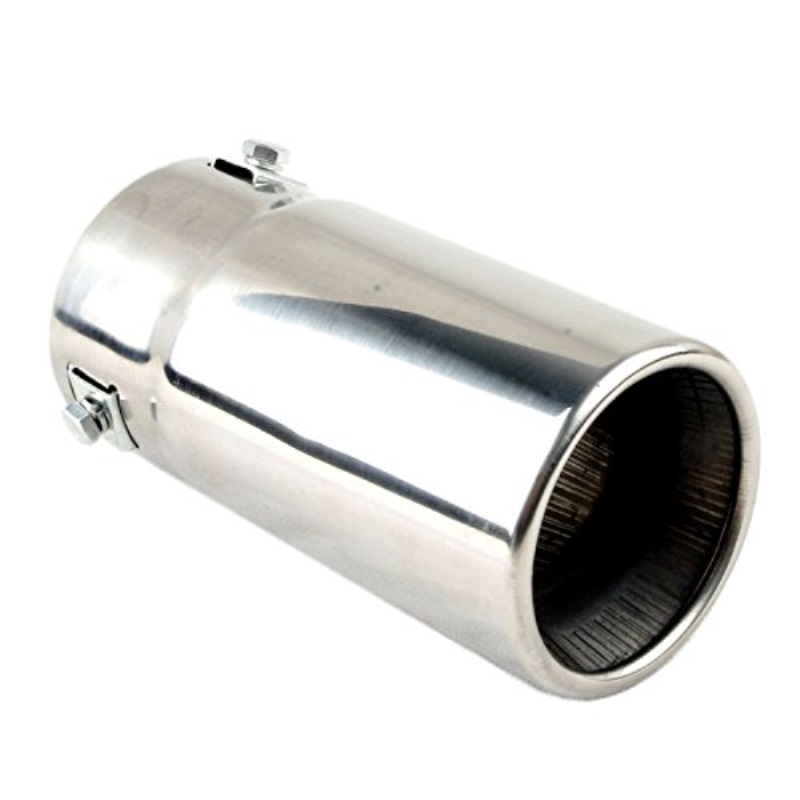 car muffler tip a stainless steel to give chrome effect a to fit 1 5 to 2 5 inch exhaust pipe diameter a installation clamps included by