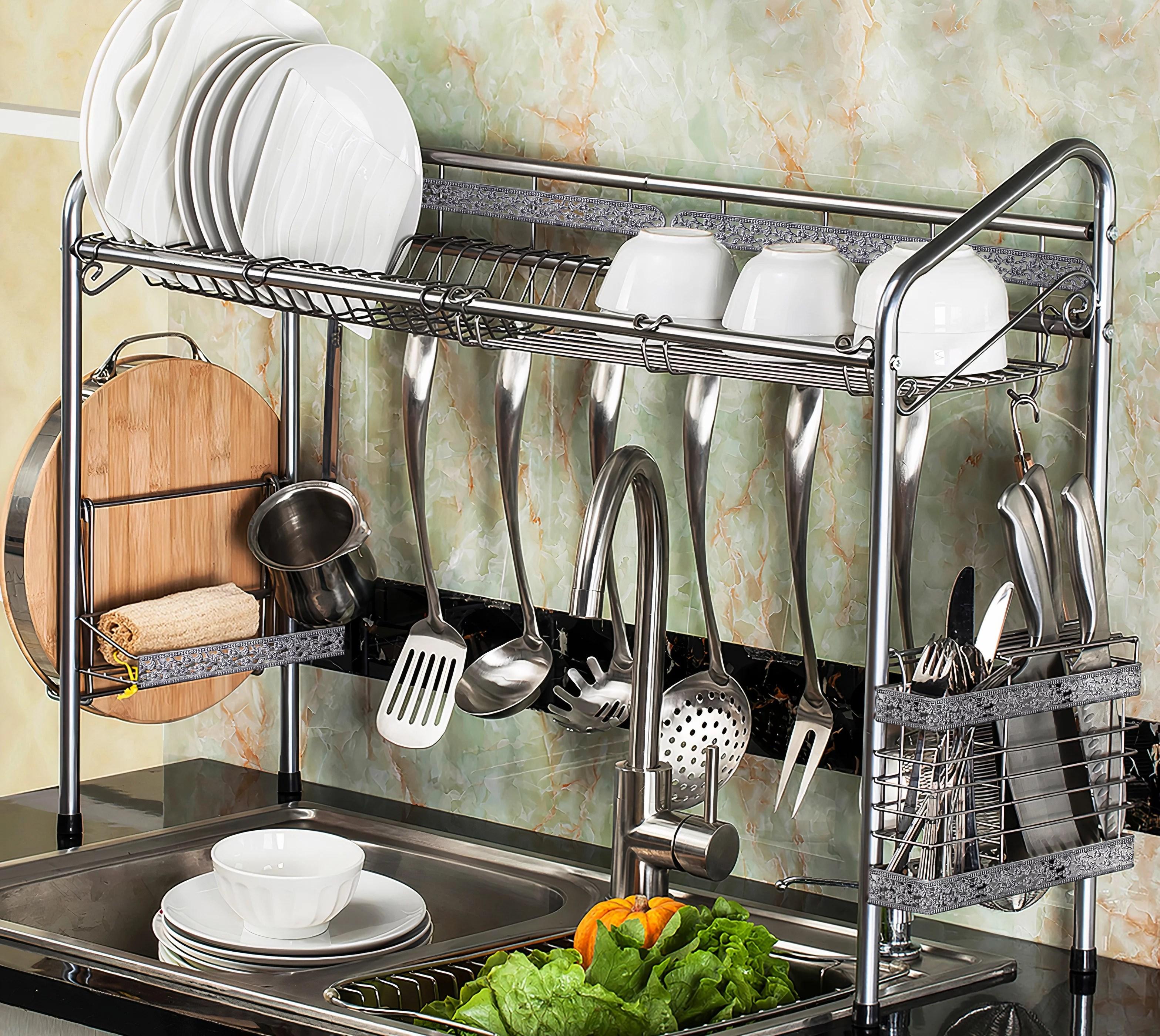 premiumracks professional over the sink silver dish rack