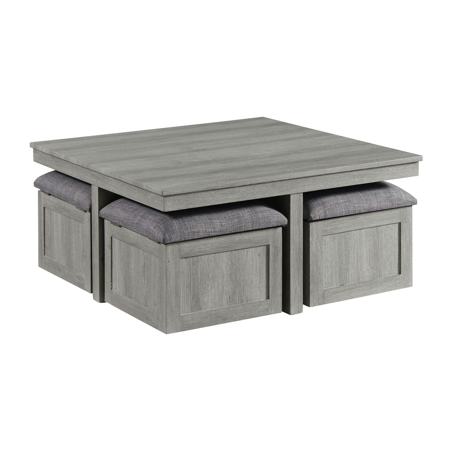 picket house dawson coffee table with four storage stools in grey