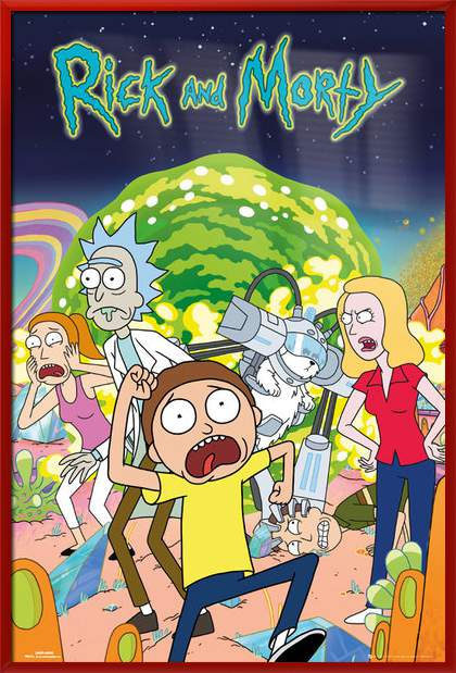 rick and morty framed tv show poster print the cast size 24 x 36