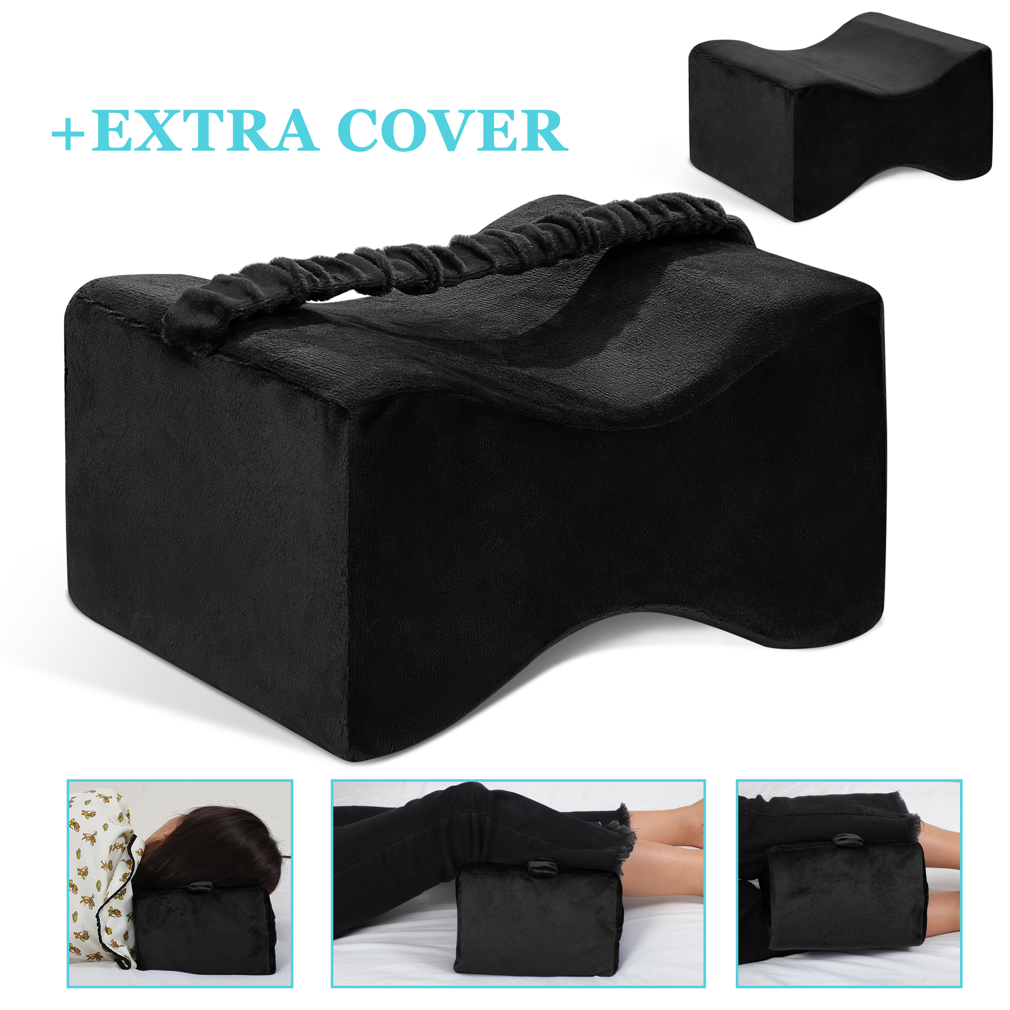 knee pillow for side sleeping memory foam leg pillow for knee pain back pain with 2 washable covers black
