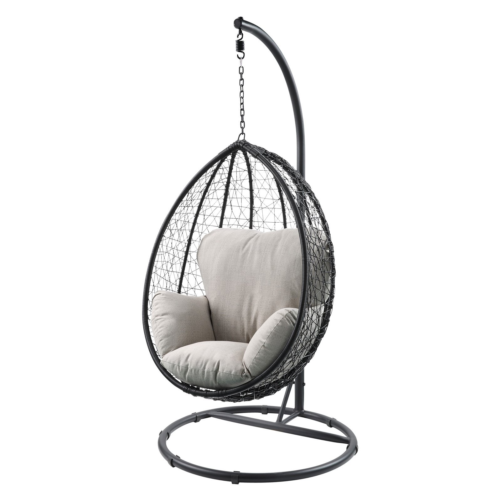 Hanging Egg Chair Outdoor Acme Furniture Simona Black Wicker Outdoor Hanging Egg Chair With Cushion