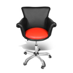 Orange Chair Salon Ergonomic For Sale Magshion Deluxe Microfiber Office Desk Bar Stool Beauty Nail Spa Vanity Seat Black Red Walmart Com