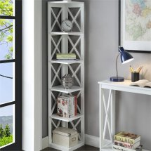 Scranton & 5 Shelf Corner Bookcase In White
