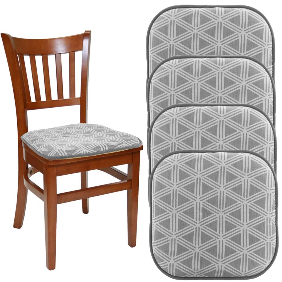 chair pads kitchen wheelchair basketball rules dream home set of 4 gripper for office chairs grey 16 x indoor seat cushion pillow rocking
