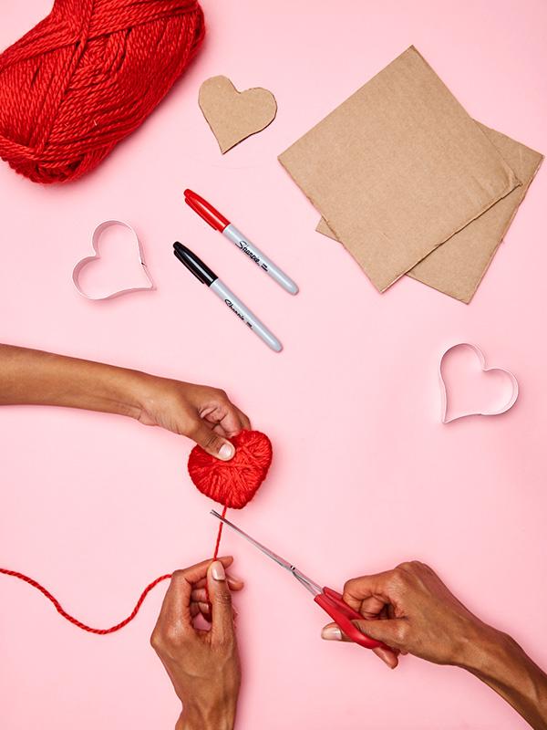 Kids Craft Idea For Valentines Day Yarn Heart Pins