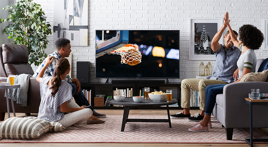 living room package with tv accent wall paint colors furniture lineup go the distance for your game day gathering a new