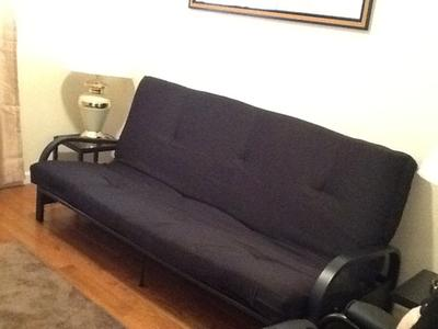 mainstays black metal arm futon with full size mattress multiple colors available