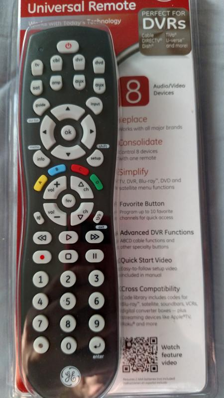 Ge 8 Device Universal Remote Codes List : device, universal, remote, codes, Device, Universal, Remote,, Smart, Simple, Setup,, 24927, Walmart.com