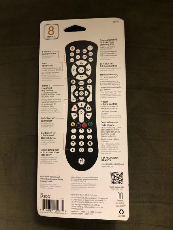 Ge 8 Device Universal Remote Codes List : device, universal, remote, codes, UltraPro™, 8-Device, Universal, Backlit, Remote,, Black, 41567, Walmart.com