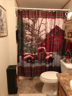 christmas shower curtain with vintage red truck barn and holiday trees