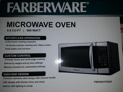 farberware 0 9 cu ft microwave oven stainless steel black