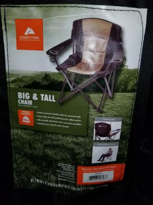 ozark trail big and tall steel quad camp chair with extra wide seat and padded back black
