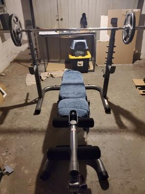 gold s gym xrs 20 adjustable olympic workout bench with squat rack leg extension preacher curl and weight storage