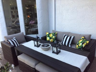 better homes gardens harbor city patio loveseat with beige cushions