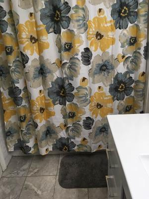 lush decor leah floral polyester shower curtain 72x72 yellow gray single