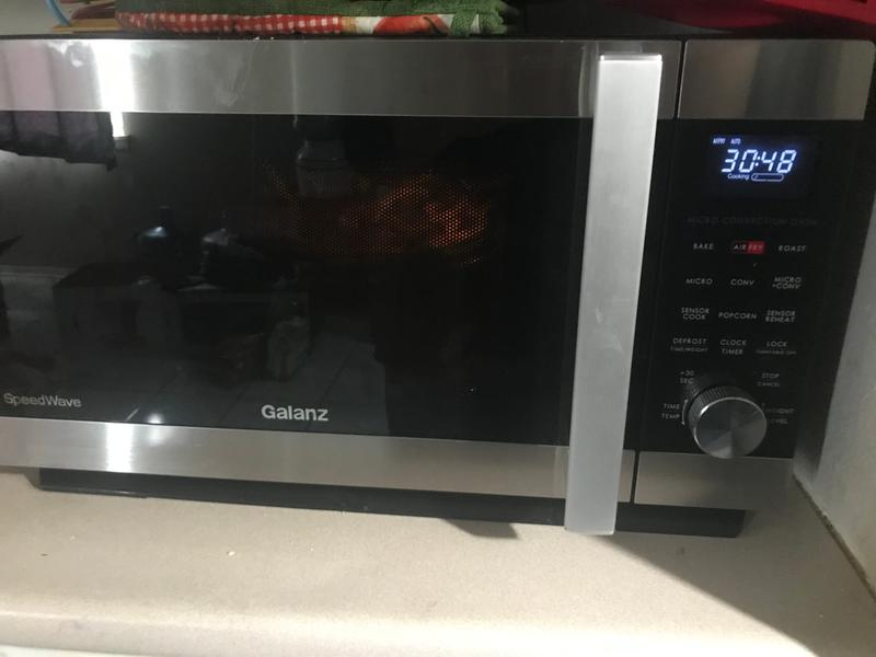 galanz 1 6 cu ft countertop speed wave 3 in 1 convection oven air fry microwave in stainless steel