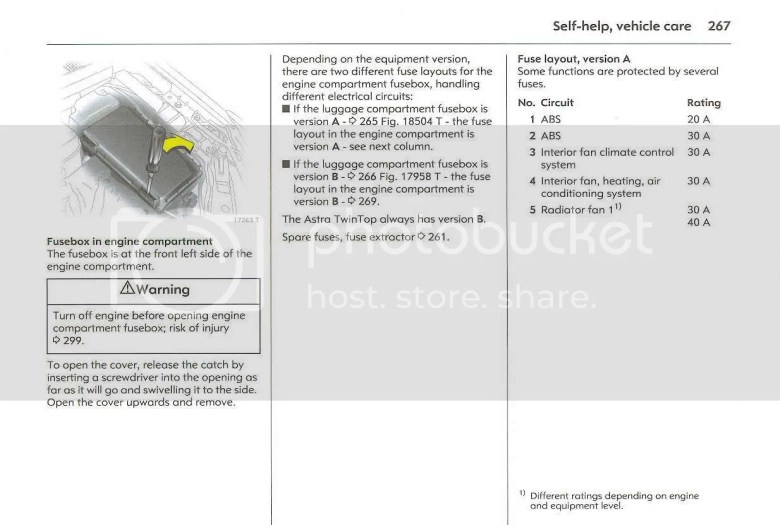 [Astra Mk5/H] [04-09] - Fuse box Diagram for 54 plate astra diesel | Vauxhall Owners Network ...