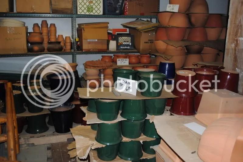Glazed Pots in the Basement Across From The Lumberyard