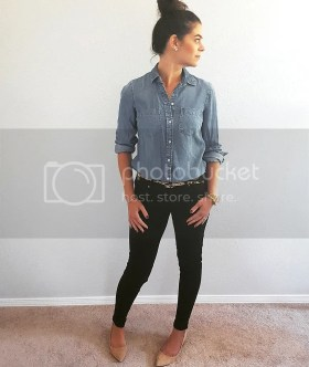 Chambray, black skinny pants, suede stacked heel