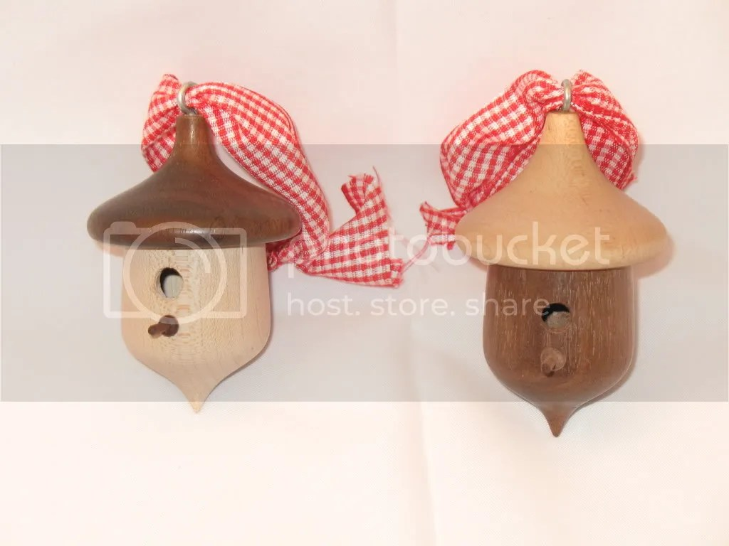 Small (2 3/4) birdhouse ornaments, walnut and maple