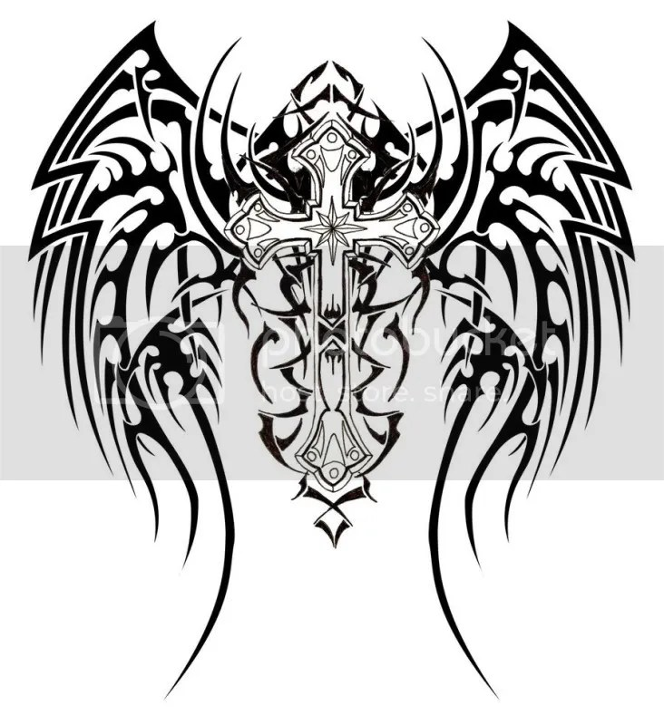 TRIBAL WINGS AND CROSS TATTOO Image