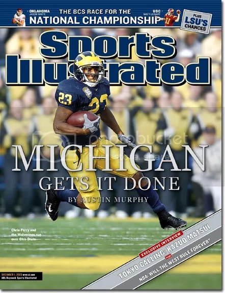 This SI cover adorned my bedroom wall for years after the 2003 victory over Ohio State. The nostalgia turns into disgust when I realize that was the last time we beat OSU.