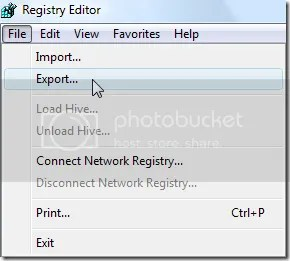 Regedit , export backup registry windows
