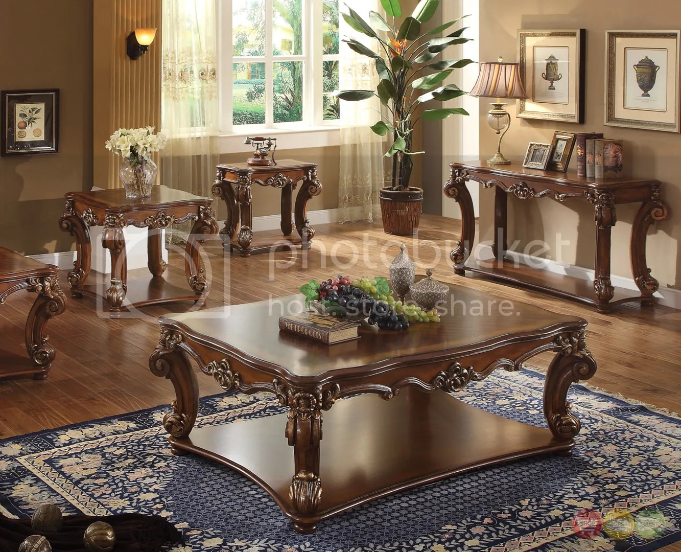 cherry furniture living room how to decorate a with fireplace vendome brown wood top rectangular 3pc table set details about