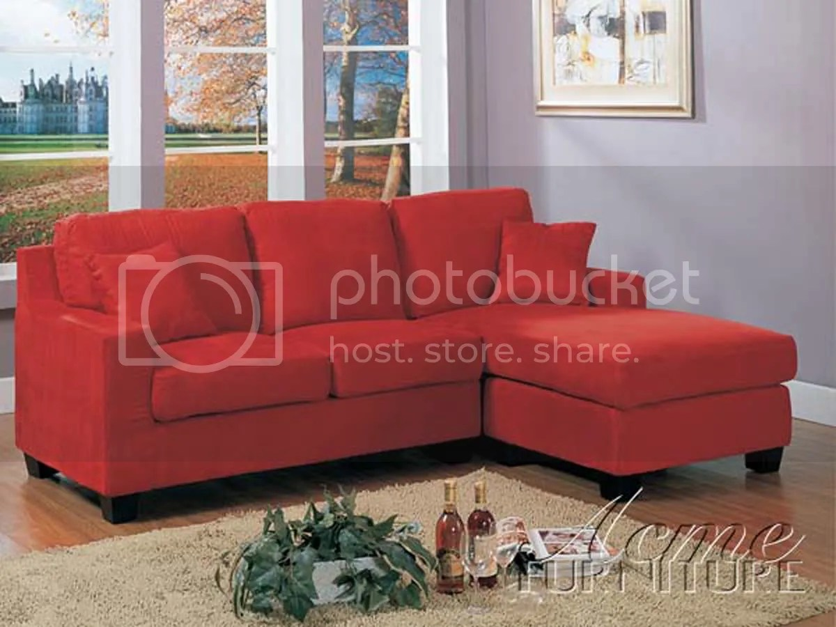 Casual Red Microfiber Sectional Sofa wChaise Couch 5358 NEW  eBay