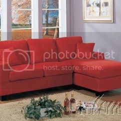 Red Microfiber Sofa White Ruffled Slipcover Casual Sectional W Chaise Couch 5358