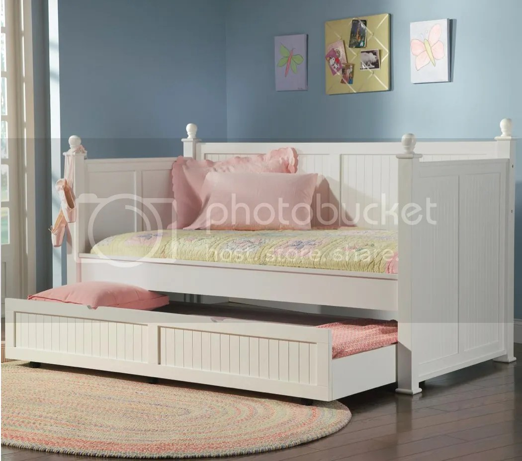 Twin Daybed Day Bed Trundle Set White Wood Bedroom
