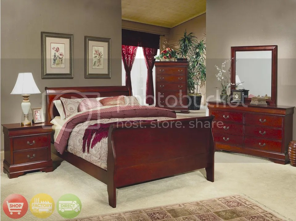sleigh bed cherry wood
