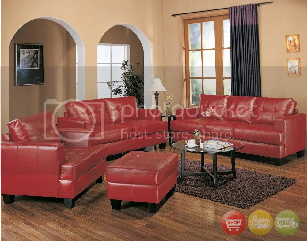 Samuel Red Bonded Leather Sofa & Loveseat Contemporary