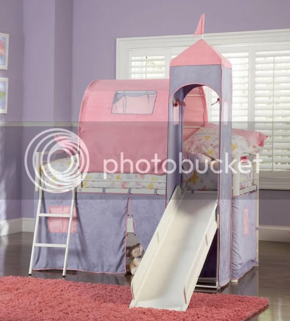 Princess Castle Twin Size Tent Loft Bed With Slide Set